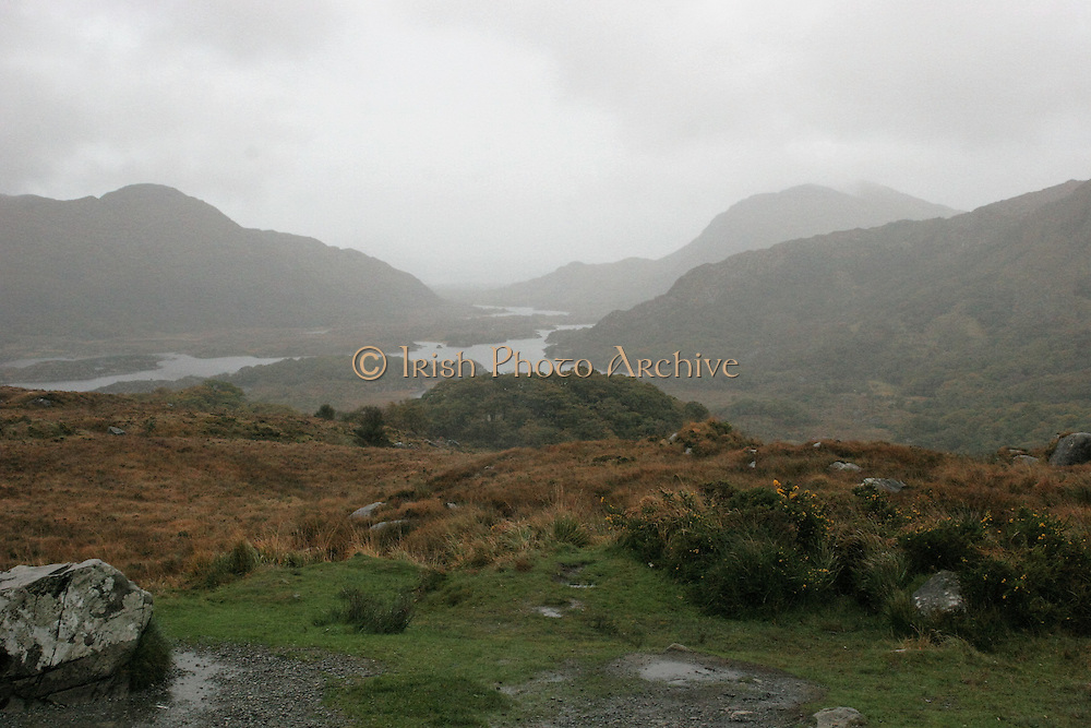 Landmark Images from Ireland, Famous Locations. Ladies View in the rain