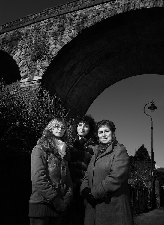 Sharron Schwartz (author) with her mother Sylvia and daughter Keren, in Redruth, once the capital of Cornish mining.