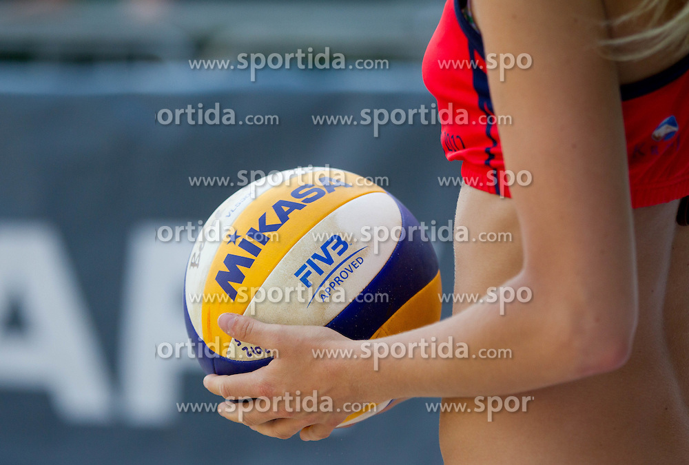 Ball in woman's hand during Slovenian National Championship in beach volleyball Kranj 2012, on June 29, 2012 in Kranj, Slovenia. (Photo by Vid Ponikvar / Sportida.com)