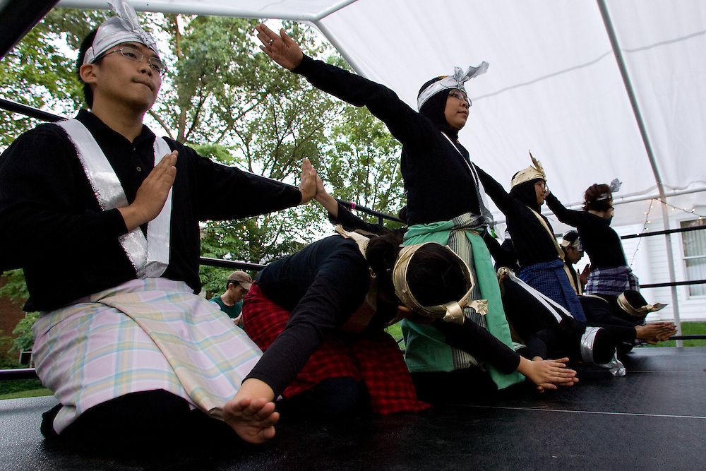 "Memebers of the Ohio University PERMIAS student organization perform a traditional Indonesian Saman Dance during the ?Integrating Islam in the Social Studies Curriculum,"" Sponsored by The National Resource Centers for African and Southeast Asian Studies and the Ohio Valley International Council."
