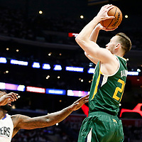30 April 2017: Utah Jazz forward Gordon Hayward (20) takes a jump shot over LA Clippers center DeAndre Jordan (6) during the Utah Jazz 104-91 victory over the Los Angeles Clippers, during game 7 of the first round of the Western Conference playoffs, at the Staples Center, Los Angeles, California, USA.