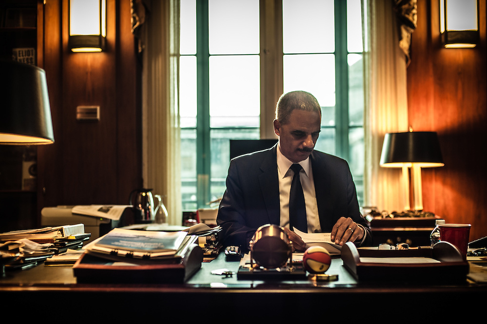 WASHINGTON, DC -- 6/3/14 -- Eric Holder in his private office. U.S. Attorney General Eric Holder talks about Stand Your Ground, Fair Sentencing and felony disenfranchisement laws. Photos of him in the Attorney General's office and conference room.…by André Chung #AC2_1542