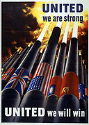 United we are strong. UNITED we will win' US World War II poster with cannon, all blasting shells skywards,  1943.