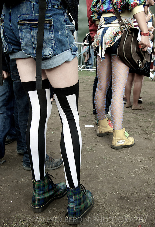 Dr Martens, the quintessential British boots, never go out of fashion + fancy stockings. Field Day Festival, London 2011.