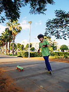 Young boy of 8 on a skateboard. Model Release Available