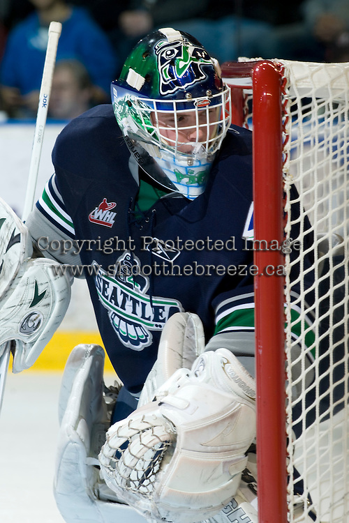 KELOWNA, CANADA, JANUARY 27: Calvin Pickard #1 of the Seattle Thunderbirds defends the net as the Seattle Thunderbirds visit the Kelowna Rockets on January 27, 2012 at Prospera Place in Kelowna, British Columbia, Canada (Photo by Marissa Baecker) *** Local Caption ***
