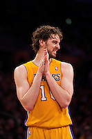 25 February 2011: Forward Pau Gasol of the Los Angeles Lakers reacts to a call against the Los Angeles Clippers during the first half of the Lakers 108-95 victory over the Clippers at the STAPLES Center in Los Angeles, CA.