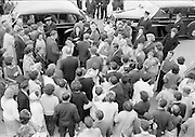 31/07/1962<br /> 07/31/1962<br /> 31 July 1962<br /> Arrival of Mr F. Kirk Johnston, Chairman, Ambassador Oil Corporation and President of Ambassador Irish Oil Company and James Stewart actor and Ambassador shareholder, at Dublin Airport. crowd gathered around Jimmy Stewart as he leaves the airport by car.