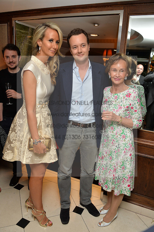 "Left to right, LADY VICTORIA HERVEY, the MARQUESS OF BRISTOL and their mother YVONNE, MARCHIONESS OF BRISTOL at a party to celebrate the publication of ""Lady In Waiting: The Wristband Diaries"" By Lady Victoria Hervey held at The Goring Hotel, Beeston Place, London on 9th May 2016."