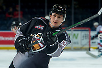 KELOWNA, BC - JANUARY 4: Michal Kvasnica #38 of the Vancouver Giants takes a shot on net during warm up against the Kelowna Rockets at Prospera Place on January 4, 2020 in Kelowna, Canada. (Photo by Marissa Baecker/Shoot the Breeze)