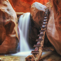 Waterfall in a Utah slot canyon near Zion National Park.