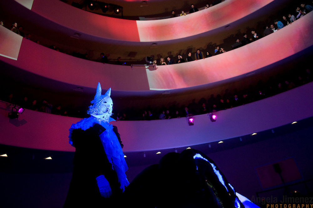 Date: 3/4/10.Desk: CUL.Slug: ANIMAL/ARTS.Assign Id: 30093369A..Members of Animal Collective, in costume, present Transverse Temporal Gyrus, a site-specific performance collaboration with visual artist Danny Perez at the Guggenheim Museum in New York City on March 4, 2010...*CAPTION NOTE: INDIVIDUAL GROUP MEMBERS ARE IN ANONYMOUS COSTUME, SO COULD NOT BE IDENTIFIED BY NAME. ..Photo by Angela Jimenez for The New York Times .photographer contact 917-586-0916