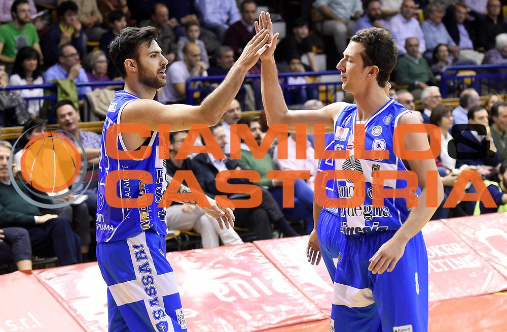 DESCRIZIONE : Reggio Emilia Campionato Lega A 2014-15 Grissin Bon Reggio Emilia Dinamo Banco di Sardegna Sassari<br /> GIOCATORE : Brian Sacchetti Giacomo Devecchi<br /> CATEGORIA : Esultanza Controcampo <br /> SQUADRA : Dinamo Banco di Sardegna Sassari<br /> EVENTO : Campionato Lega A 2014-15<br /> GARA : Grissin Bon Reggio Emilia Dinamo Banco di Sardegna Sassari<br /> DATA : 12/04/2015<br /> SPORT : Pallacanestro <br /> AUTORE : Agenzia Ciamillo-Castoria/A.Giberti<br /> Galleria : Campionato Lega A 2014-15  <br /> Fotonotizia : Reggio Emilia Campionato Lega A 2014-15 Grissin Bon Reggio Emilia Dinamo Banco di Sardegna Sassari<br /> Predefinita :