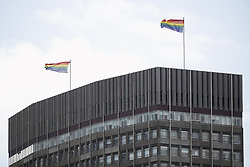 © Licensed to London News Pictures. 03/06/2019. London, UK. LGBT rainbow flags are flown from a tower block in sight of Buckingham Palace during Donald Trump's State Visit to the United Kingdom. During his three days in the UK he will meet with members of the Royal family and outgoing Prime Minister Theresa May before attending 75th Anniversary of D-Day commemorations in Portsmouth and France. Photo credit: Peter Macdiarmid/LNP