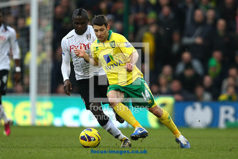 Picture by Paul Chesterton/Focus Images Ltd +44 7904 640267.09/02/2013.Wes Hoolahan of Norwich and Emmanuel Frimpong of Fulham in action during the Barclays Premier League match at Carrow Road, Norwich.