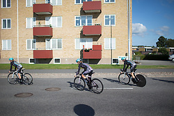 Drops Cycling Team riders go for a quick spin to warm up the legs before the Crescent Vargarda - a 42.5 km team time trial, starting and finishing in Vargarda on August 11, 2017, in Vastra Gotaland, Sweden. (Photo by Balint Hamvas/Velofocus.com)