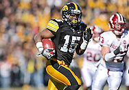 October 31, 2009: Iowa wide receiver Derrell Johnson-Koulianos (15) cuts back across the field on a 66 yd touchdown reception during the second half of the Iowa Hawkeyes' 42-24 win over the Indiana Hoosiers at Kinnick Stadium in Iowa City, Iowa on October 31, 2009.