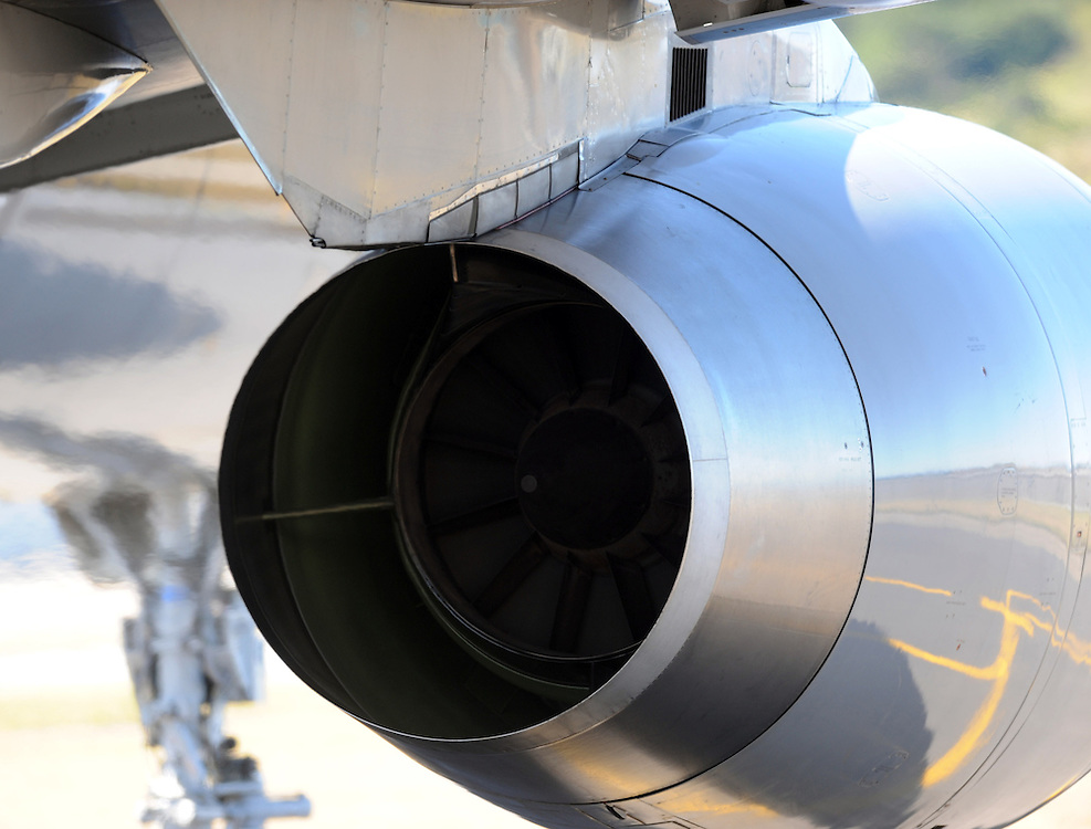Jet engine, Boeing 757, Wellington, New Zealand, Tuesday, January 19, 2010. Credit:SNPA / Ross Setford