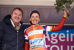 Lisa Brennauer (GER) wins the sprint competition at Healthy Ageing Tour 2019 - Stage 5, a 124.3 km road race in Midwolda, Netherlands on April 14, 2019. Photo by Sean Robinson/velofocus.com