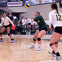 4th year libero  Taylor Ungar (13) of the Regina Cougars in action during Women's Volleyball home opener on October 20 at Centre for Kinesiology, Health and Sport. Credit: Arthur Ward/Arthur Images