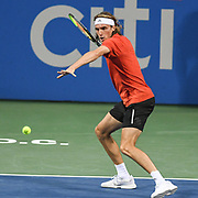 STEFANOS TSITSIPAS hits a forehand at the Rock Creek Tennis Center.