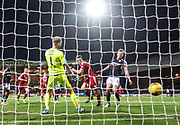 Aberdeen&rsquo;s Andrew Considine heads home the fourth goal - Dundee v Aberdeen in the Ladbrokes Scottish Premiership at Dens Park, Dundee. Photo: David Young<br /> <br />  - &copy; David Young - www.davidyoungphoto.co.uk - email: davidyoungphoto@gmail.com