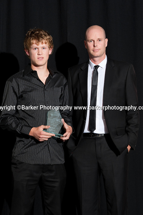 Northern Districts Cricket Awards, Academy Player of the Year, Ben Hyde, Northland, with sponsor Geoff Buchan, Tainui Novotel Hotel, Friday 8 April 2011, Hamilton, New Zealand.  Photo: Stephen Barker/Barker Photography/PHOTOSPORT  ©Barker Photography www.barkerphotography.co.nz