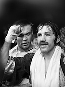 Nash vs Leon Championship Fight.    (N55)..1980..14.12.1980..12.14.1980..14th December 1980..At the Burlington Hotel, Dublin, Charlie Nash defended his European Lightweight Title when he took on Spain's Francesco Leon. .Image shows a jubilant Charlie Nash after he successfully defended his European Lightweight Title against Francesco Leon  at the Burlington Hotel, Dublin.