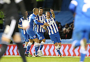 Brighton striker, Tomer Hemed (10) scores a goal and celebrates with Brighton striker, Bobby Zamora (25) and Brighton central defender, Connor Goldson (17) during the Sky Bet Championship match between Brighton and Hove Albion and Brentford at the American Express Community Stadium, Brighton and Hove, England on 5 February 2016.