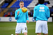 Rochdale midfielder Ethan Hamilton (27) warming up before the EFL Sky Bet League 1 match between Peterborough United and Rochdale at London Road, Peterborough, England on 12 January 2019.