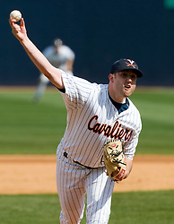 Virginia Cavaliers RHP Jake Rule (32) pitches in relief against Boston College.  The #19 ranked Virginia Cavaliers baseball team defeated the Boston College Golden Eagles 5-4 in 10 innings at the University of Virginia's Davenport Field in Charlottesville, VA on March 22, 2008.