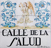 Calle de La Salud. (Health street) Ceramic street sign in Madrid, Spain