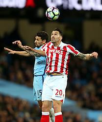 Geoff Cameron of Stoke City challenges Jesus Navas of Manchester City - Mandatory by-line: Matt McNulty/JMP - 08/03/2017 - FOOTBALL - Etihad Stadium - Manchester, England - Manchester City v Stoke City - Premier League