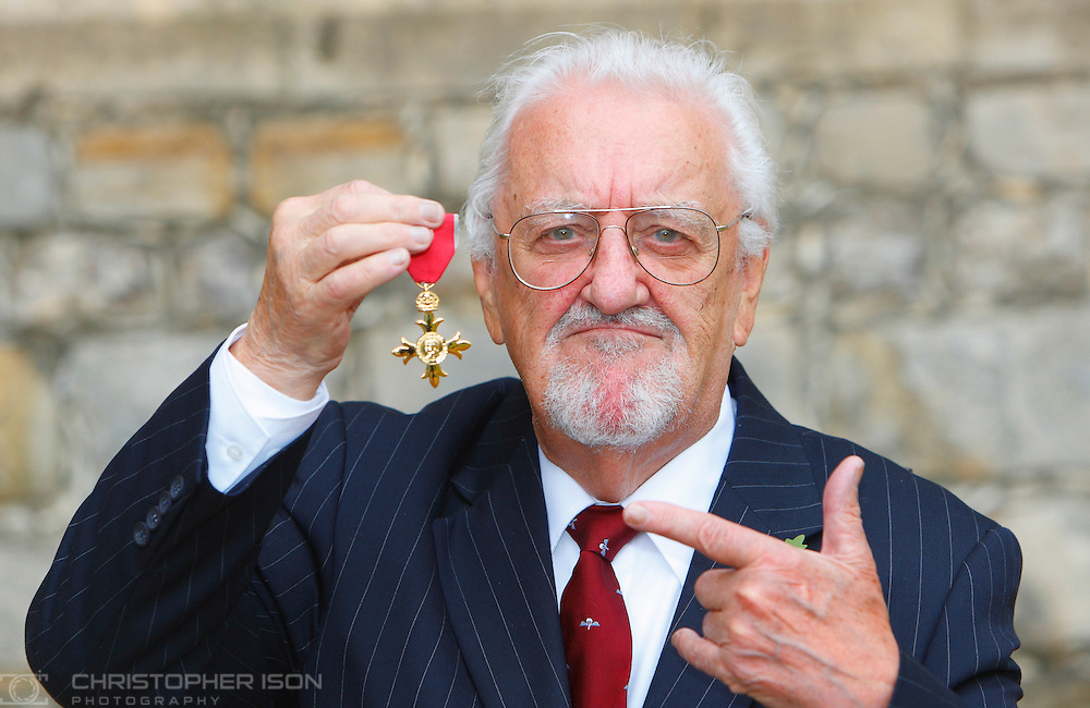 Bernard Cribbins with his OBE after receiving it from The Princess Royal at Windsor Castle.
