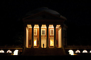 A student of the University of Virginia on the steps of the Rotunda, photographed at night, Charlottesville Virginia.