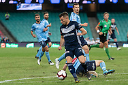 SYDNEY, AUSTRALIA - APRIL 06: Melbourne Victory forward Kosta Barbarouses (9) gets the ball past a defender at round 24 of the Hyundai A-League Soccer between Sydney FC and Melbourne Victory on April 06, 2019, at The Sydney Cricket Ground in Sydney, Australia. (Photo by Speed Media/Icon Sportswire)