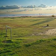 Football court in a beach. Vilanova i la Geltrú.Barcelonba province.Spain.