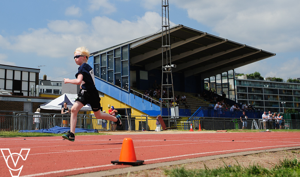 Metro Blind Sport's 2017 Athletics Open held at Mile End Stadium.  100m.  Harry Hughes<br /> <br /> Picture: Chris Vaughan Photography for Metro Blind Sport<br /> Date: June 17, 2017