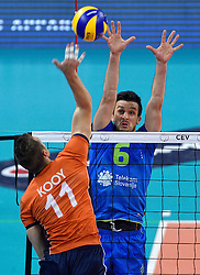 Mitja Gasparini, Dick Kooy #11 during volleyball match between National teams of Netherlands and Slovenia in Playoff of 2015 CEV Volleyball European Championship - Men, on October 13, 2015 in Arena Armeec, Sofia, Bulgaria. Photo by Ronald Hoogendoorn / Sportida