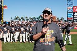 SAN FRANCISCO, CA - OCTOBER 02: Jake Peavy #22 of the San Francisco Giants addresses fans after the game Lagainst the Los Angeles Dodgers at AT&T Park on October 2, 2016 in San Francisco, California. The San Francisco Giants defeated the Los Angeles Dodgers 7-1. (Photo by Jason O. Watson/Getty Images) *** Local Caption *** Jake Peavy