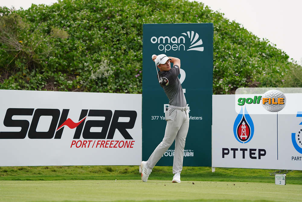 Rasmus Hojgaard (DEN) on the 2nd during Round 1 of the Oman Open 2020 at the Al Mouj Golf Club, Muscat, Oman . 27/02/2020<br /> Picture: Golffile | Thos Caffrey<br /> <br /> <br /> All photo usage must carry mandatory copyright credit (© Golffile | Thos Caffrey)