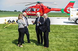 Pictured:  SCAA Trustee, Joyce Leslie, SCAA Vice Chair Mike Beale, John Swinney and SCAA Chief Executive David Craig<br /> Deputy First Minister and local MSP  John Swinney visited Perth Airport today to visit Scotland's Charity Air Ambulance. The Perthshire North MSP will meet volunteers and present certificates to mark the start of National Volunteers' Week.<br /> <br /> <br /> Ger Harley | EEm 1 June 2018