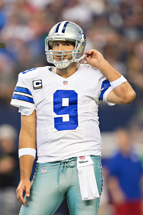 ARLINGTON, TX - OCTOBER 19:  Tony Romo #9 of the Dallas Cowboys looks over to the sidelines during a game against the New York Giants at AT&T Stadium on October 19, 2014 in Arlington, Texas.  The Cowboys defeated the Giants 31-21.  (Photo by Wesley Hitt/Getty Images) *** Local Caption *** Tony Romo