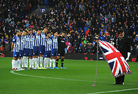 Football - 2019 / 2020 Premier League - Brighton & Hove Albion vs. Norwich City<br /> <br /> Brighton players stand together for a minutes silence in honor of Remembrance  Sunday, at The Amex.<br /> <br /> COLORSPORT/ANDREW COWIE