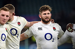 Alec Hepburn of England looks on in a post-match huddle - Mandatory byline: Patrick Khachfe/JMP - 07966 386802 - 24/11/2018 - RUGBY UNION - Twickenham Stadium - London, England - England v Australia - Quilter International