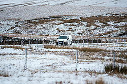 © Licensed to London News Pictures. 11/02/2020. Chapel-le-Dale UK. Overnight snowfall is affecting roads around the Chapel-le-Dale area of the Yorkshire Dales this morning. Photo credit: Andrew McCaren/LNP