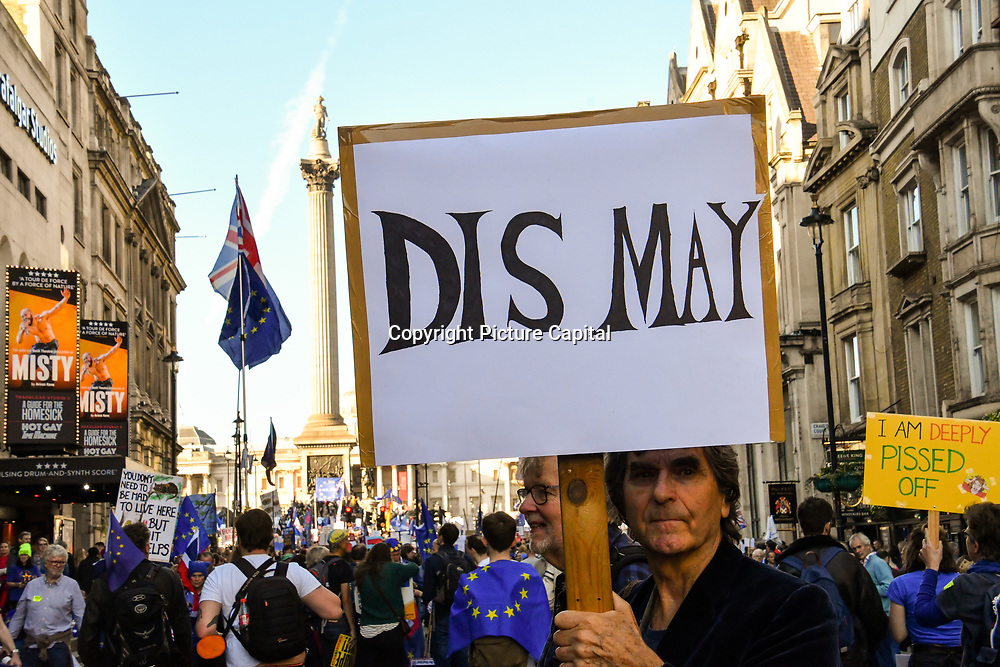Thousands rally at Parliament Square.  March for the Future - People's Vote and March for a Final Say - Brexit Deal Referendum Campaign on 20 October 2018.