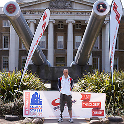 © licensed to London News Pictures. LONDON, UK  03/05/2011. Teams from Oxford and Cambridge Universities are competing in a 1,000 miles cycle race to raise money for wounded service men and women via ABF The Soldiers Charity and Combat Stress. At a launch event today at the Imperial War Museum they met Corporal Terry Byrne (pictured) who lost a leg in Afghanistan before taking up cycling and has since broken two world records. He is a medal contender at the London 2012 Paralympic Games. Please see special instructions for usage rates. Photo credit should read CLIFF HIDE/LNP