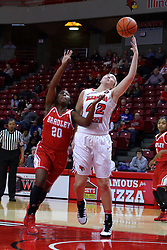 01 January 2017: Megan Talbot defended by Shareece Burrell during an NCAA Missouri Valley Conference Women's Basketball game between Illinois State University Redbirds the Braves of Bradley at Redbird Arena in Normal Illinois.