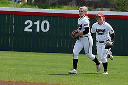 22 April 2017:  Annie Heineman gets under a fly ball at the last moment for the out during a Missouri Valley Conference (MVC) women's softball game between the Missouri State Bears and the Illinois State Redbirds on Marian Kneer Field in Normal IL